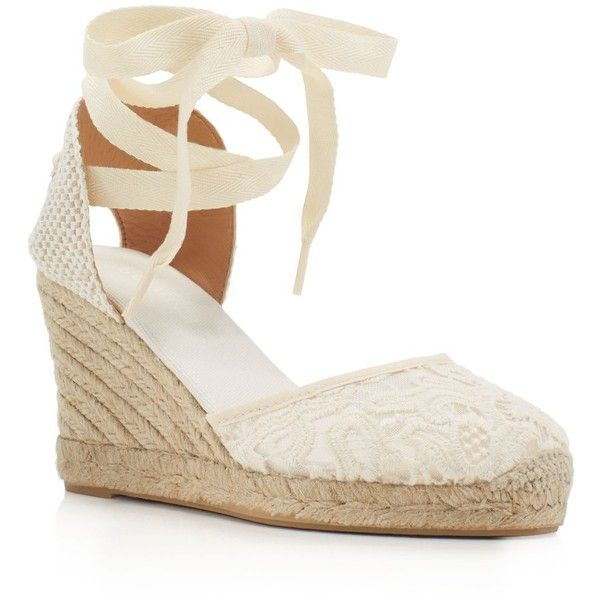 ba0bf1fea3c Soludos Lace Ankle Tie Espadrille Wedge Sandals ($100) ❤ liked on ...