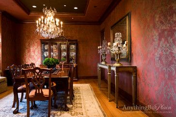Charmant Red And Gold Dining Room With Stencil Pattern   Dining Room   Houston    Anything But Plain, Inc.
