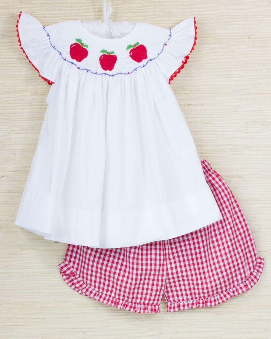 56f31278e Apples Smocked Red Checked Girls Shorts Set | Bring on the bows ...