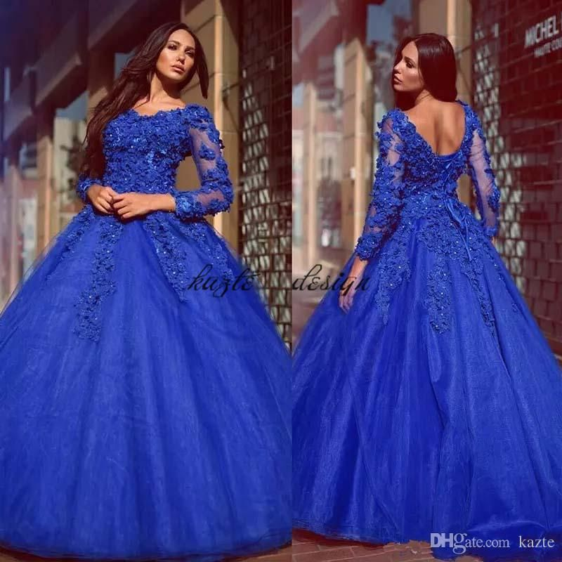 1722738d08d Arabic Royal Blue Ball Gown Evening Dresses 2018 with Long Sleeves Flower  Beaded Sweet Train Formal