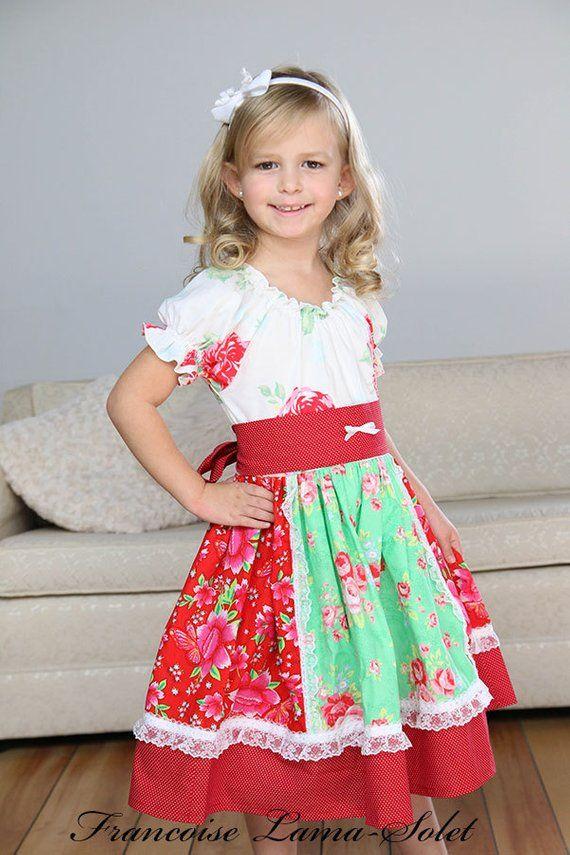 8324a50d2149 Girls twirl dress, peasant dress, red green white dress, floral dress, christmas  dress, holiday seas