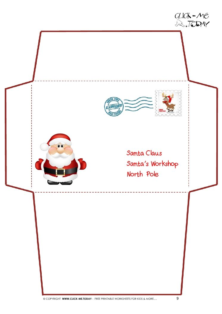 printable letter to santa claus envelope template