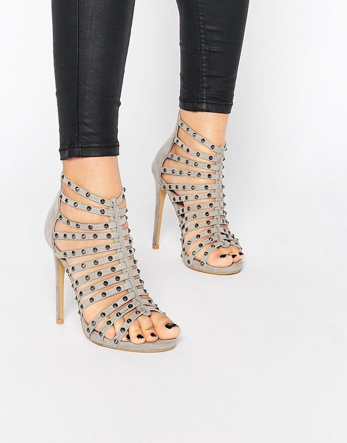 90e033ed5dd Glamorous Gray Studded Caged Heeled Sandals