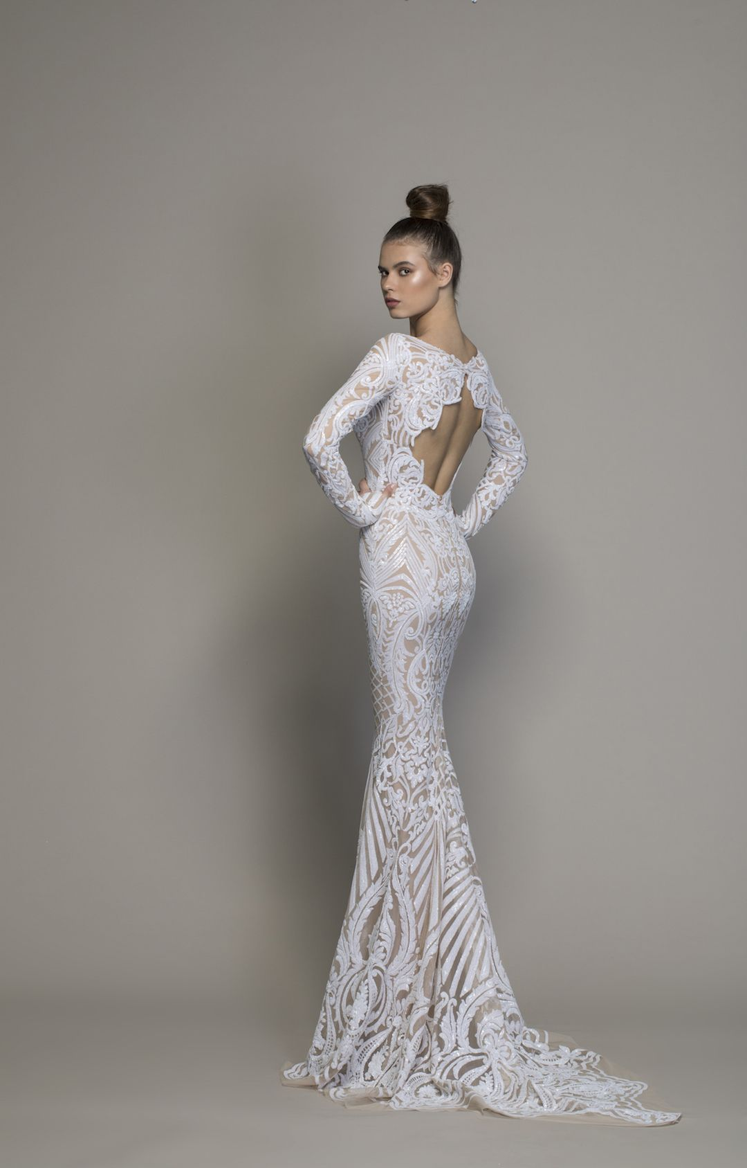 Long Sleeve All Over Lace Sequin Sheath Wedding Gown Kleinfeld
