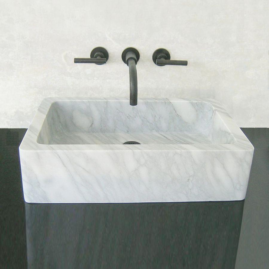 Terra Acqua Montecito Carrara Marble Vessel Rectangular Bathroom Sink