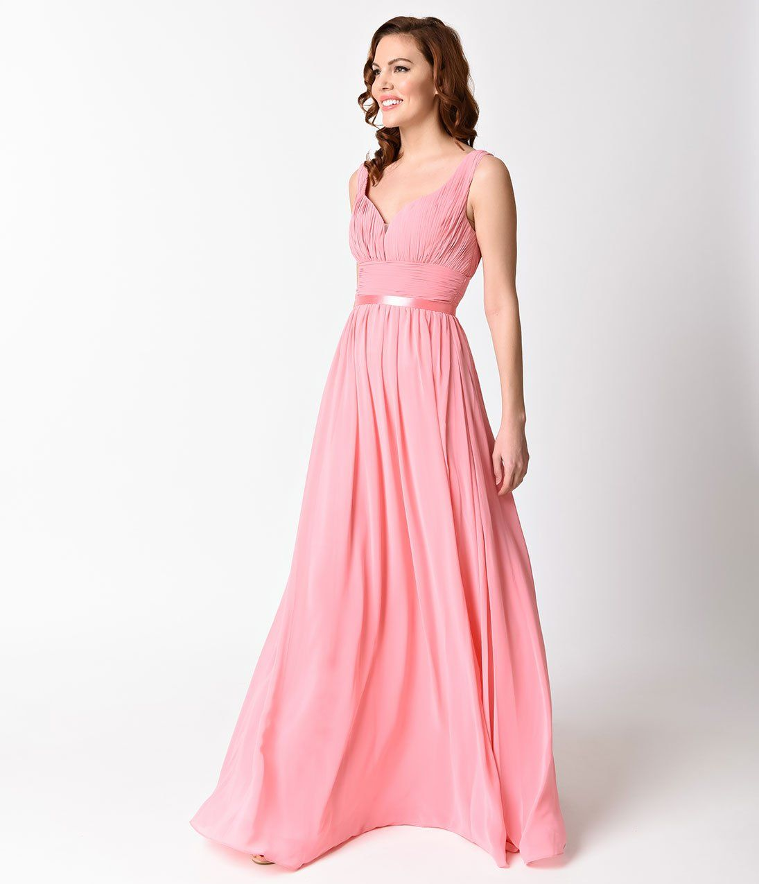 Rose sexy sleeveless chiffon long dress for prom clothes