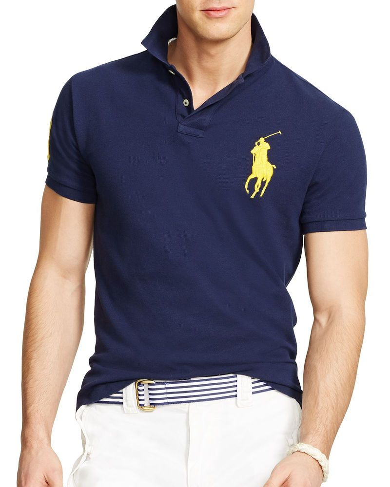 80094aa98e23 NWT Polo Ralph Lauren BIG PONY Custom Fit Mesh Solid Collared Shirt M Navy  Blue  PolobyRalphLauren  PoloRugby