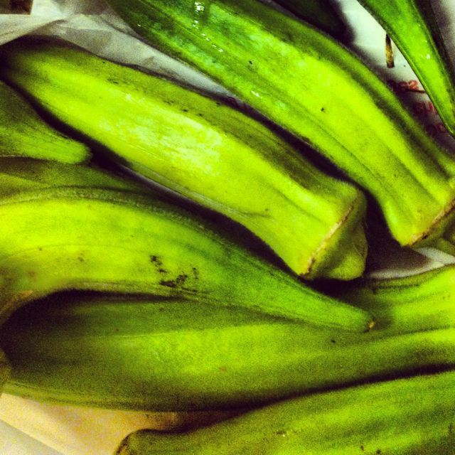 Fresh okra from the farmers market! Bake at 350 or grill with sea salt ... So easy & delicious!