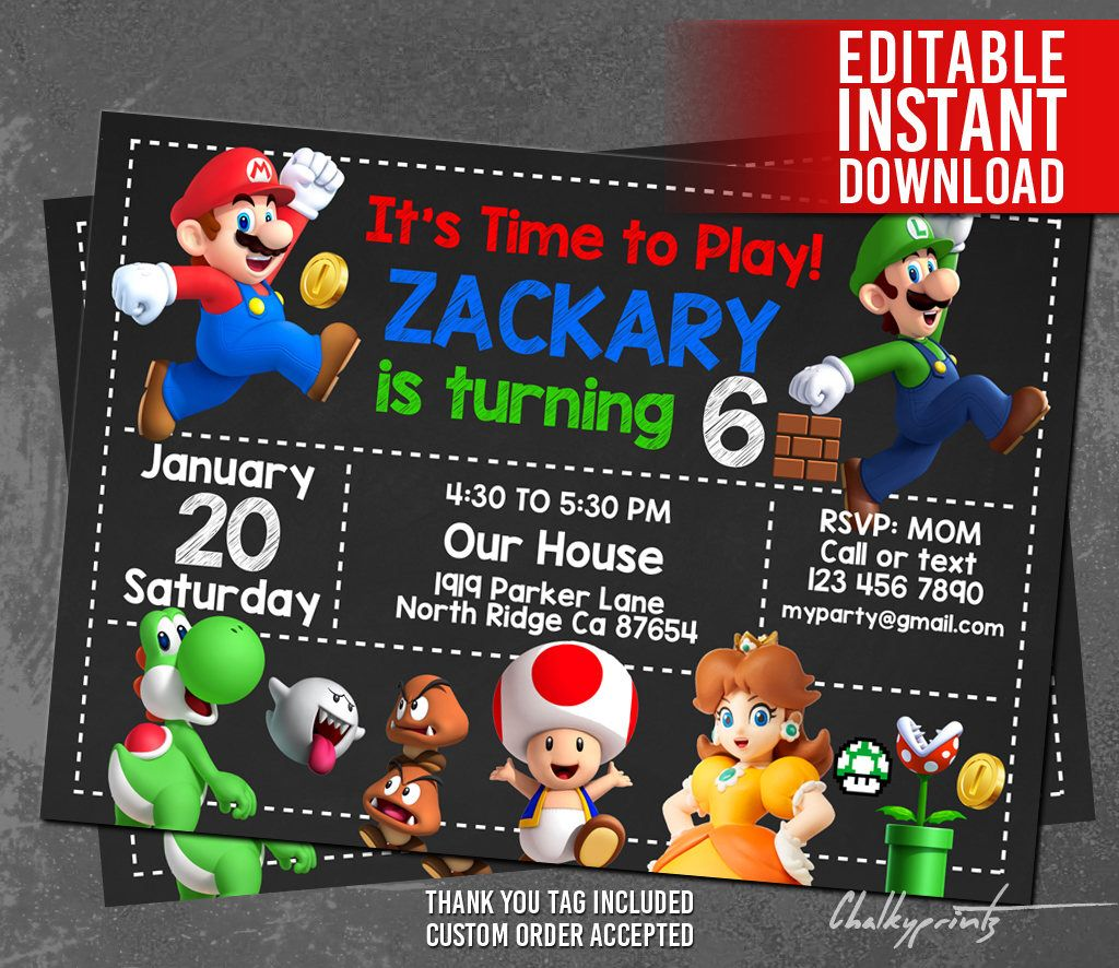 Super Mario Invitation Download, Super Mario Birthday Invitation ...