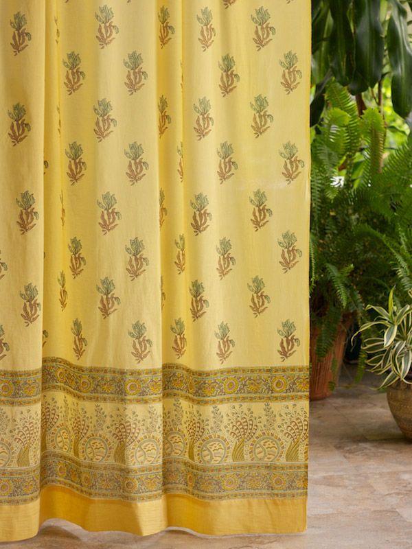 Yellow Curtain, Floral Curtain, Summer Curtain, Beach Curtain, Cotton  Curtain Panel