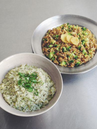 riced cabbage and curried version — paleo, vegan, vegetarian, gluten free
