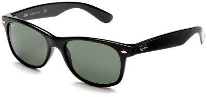 Amazon Com Ray Ban Rb 2132 622 New Wayfarer Black Rubber Crystal Green Frame Size 55m Ray Ban Sunglasses Wayfarer Black Wayfarer Sunglasses Rayban Wayfarer