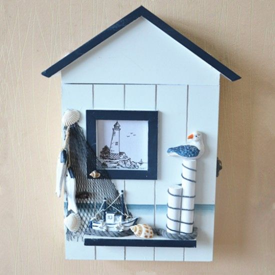 Decorative Key Box For The Wall Mediterranean Sea Style Wooden Key Organizer Seagull Fishnet Wall