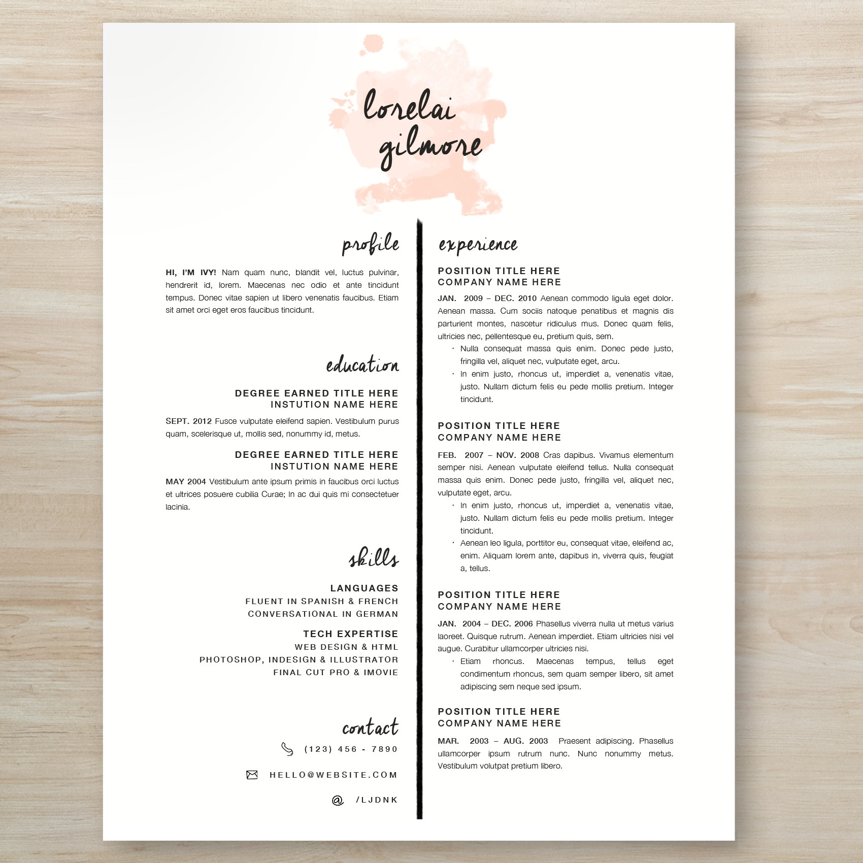 ideas about creative resume design on pinterest   resume    lorelai gilmore from gilmore girls inspired watercolor resume  gilmoregirls  resume  creative