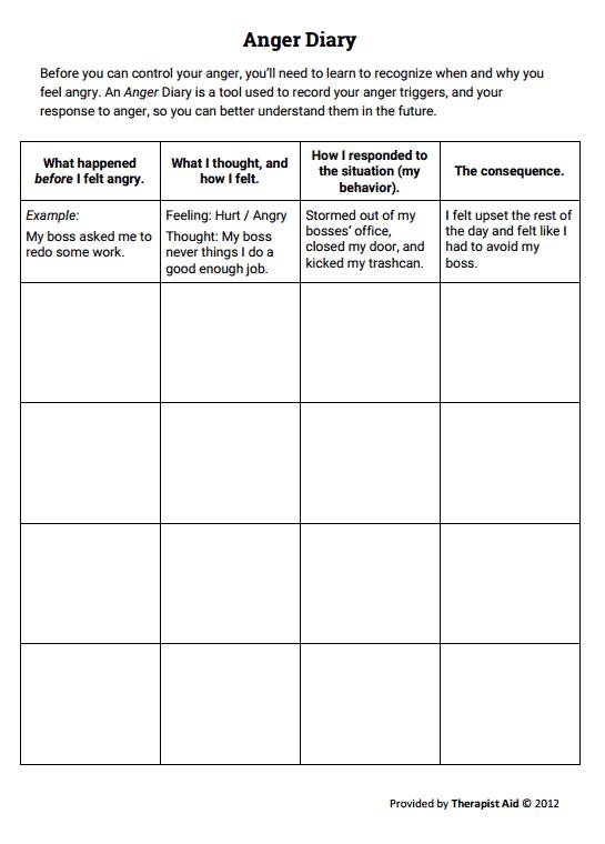 Anger Diary Worksheet Counseling Pinterest Anger Management
