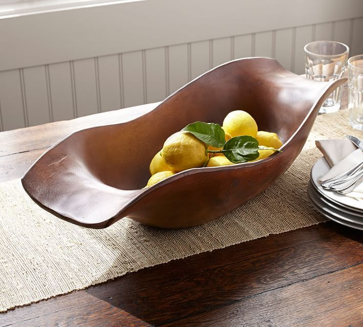 Pottery Barn Decorative Bowls Vintage Wood Carved Oval Bowlsoft Curves Make This Acacia Bowl