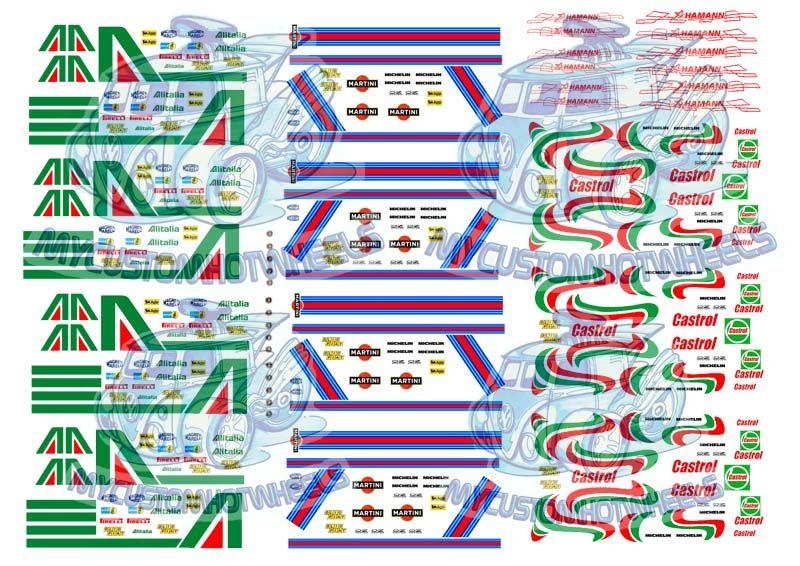 A4 sheet 2 Martini logos water transfer decals aufkleber set