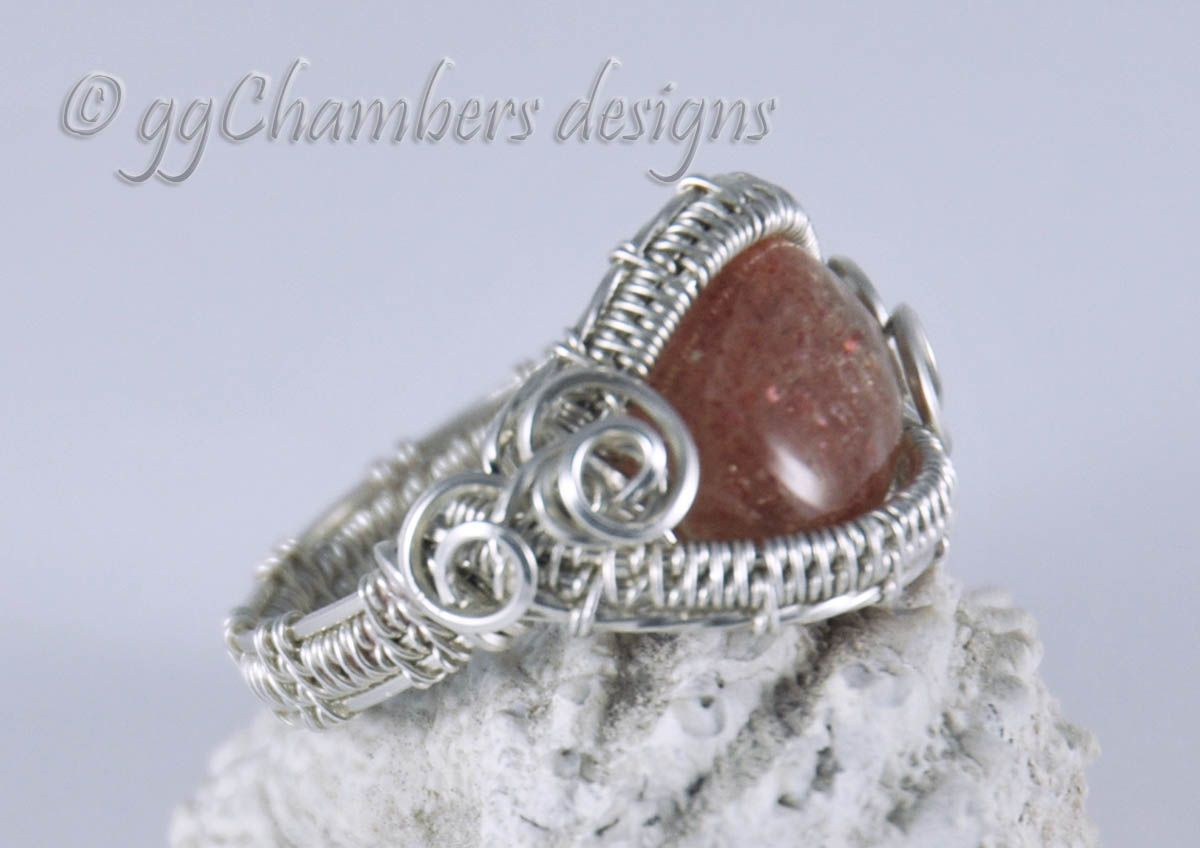 Sunstone in Sterling and Fine Silver Woven Wire Ring