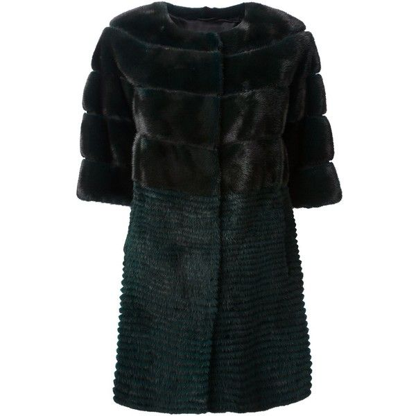 YVES SALOMON mink fur coat ($6,015) ❤ liked on Polyvore featuring outerwear, coats, green coat, mink coat, yves salomon, mink fur coat and short sleeve coat