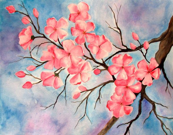Cherry Blossom Watercolor Painting Cherry Blossom Painting