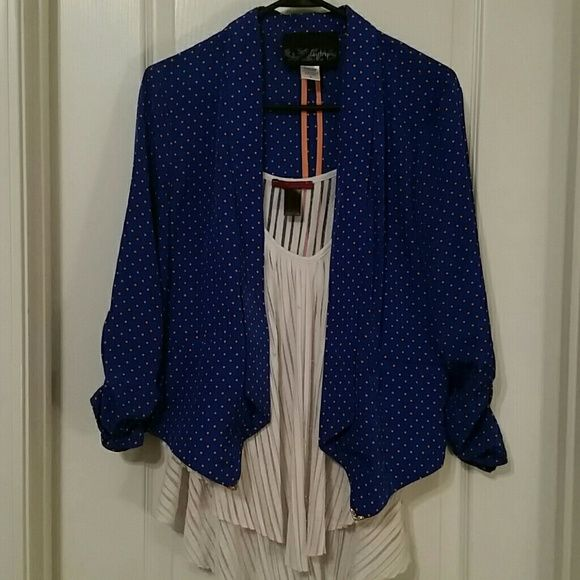 Daytrip Blazer Blue daytrip blazer with orange polka dots. Any bronco fans out there?perfect colors. Even if you're not, this blazer will make you stand out in the crowd!perfect condition Daytrip Jackets & Coats Blazers