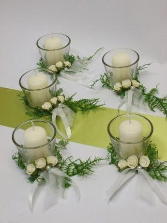 5x Set Kerze Votivglas Kerzenring Deko Kommunion Konfirmation