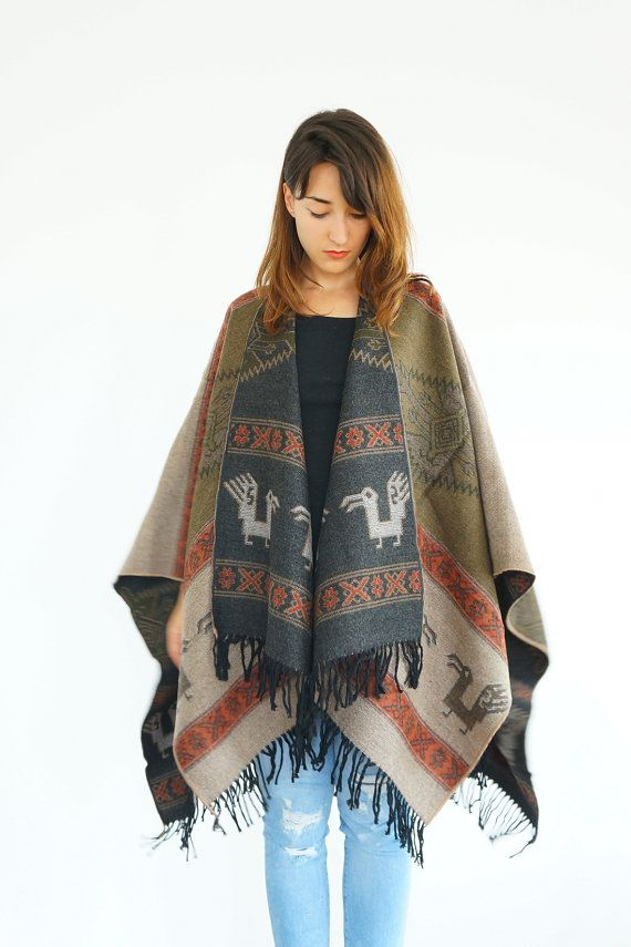 Outdoors Gift Poncho Khaki Wool Poncho Wool Cape Outerwear Women Clothing Fashion Accessories Women Wear Aztec Poncho Ethnic Poncho