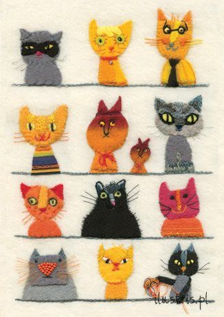 Awesome embroidered kitties card from Ilustris.pl