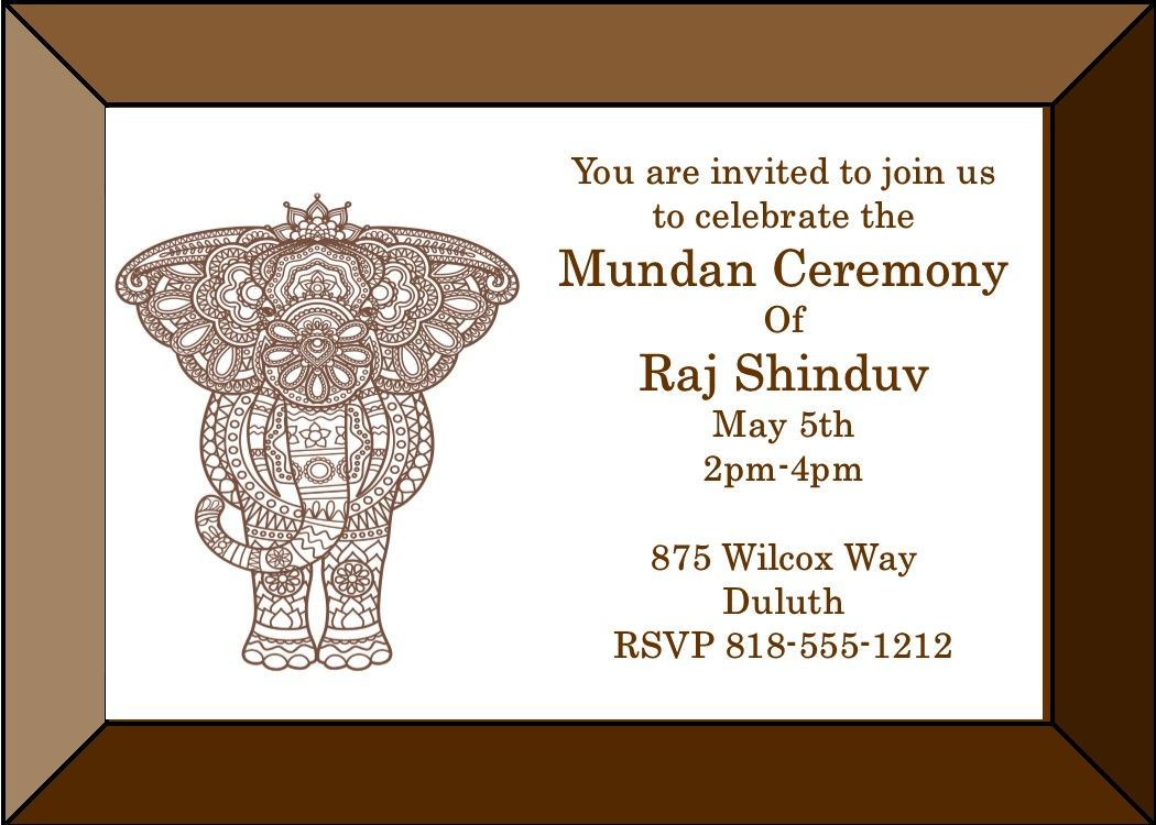 Mundan Elephant Frame Party Invitations Invitations Party Invitations Ceremony