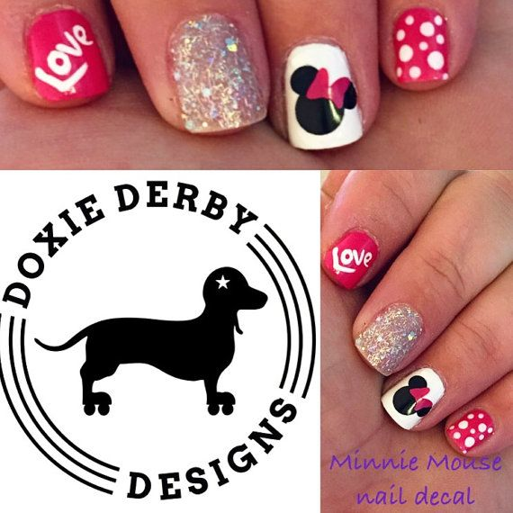 Minnie Mouse nail decals bow any color by 3rdDegreeLaser on Etsy ...