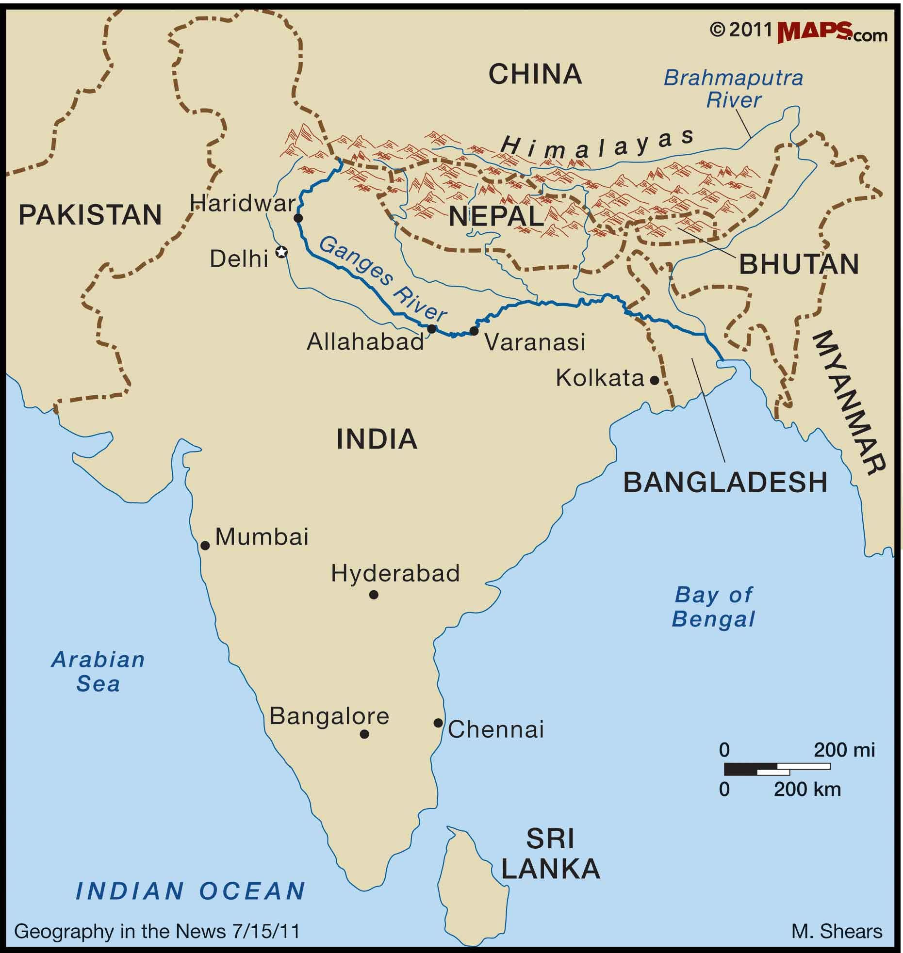 This picture shows the location of the Ganges river in India