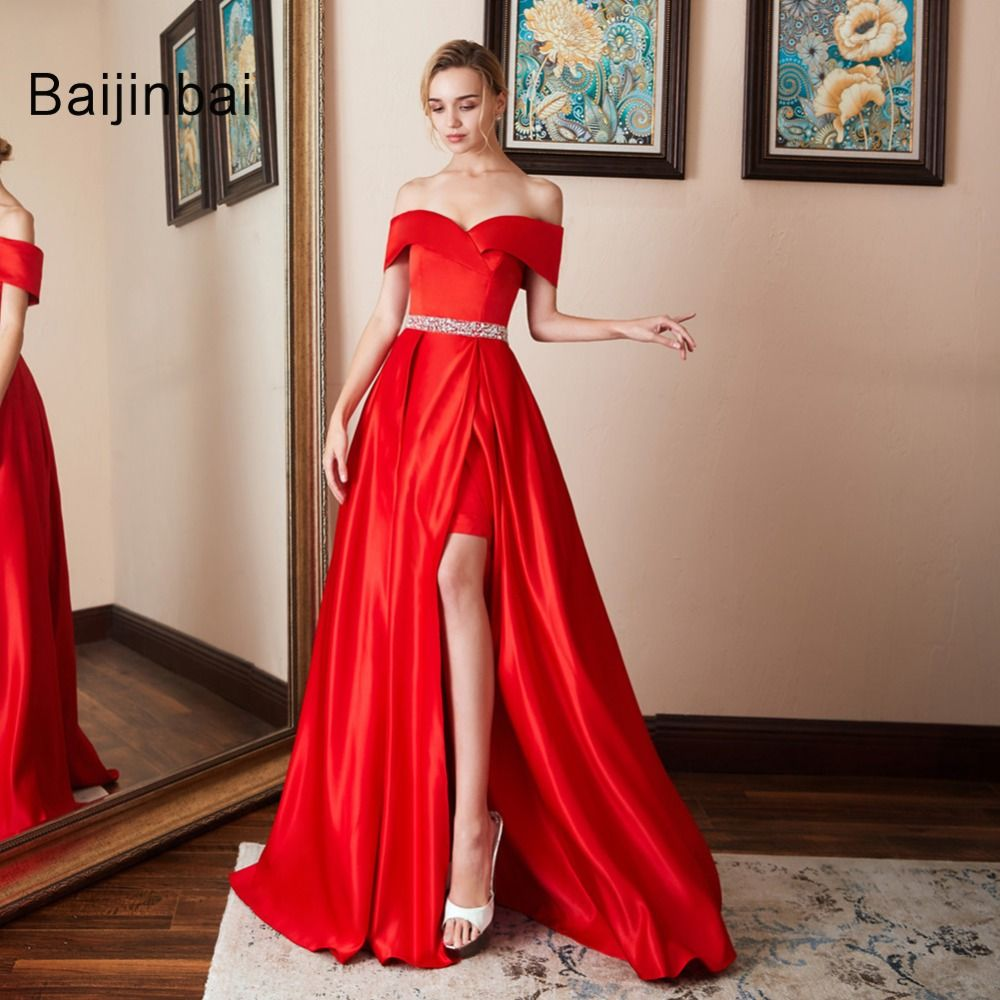 Sexy off shoulder satin long red prom dresses formal party