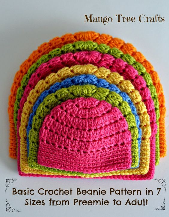 Crochet basic beanie hat in 7 sizes from preemie to adult. Free ...