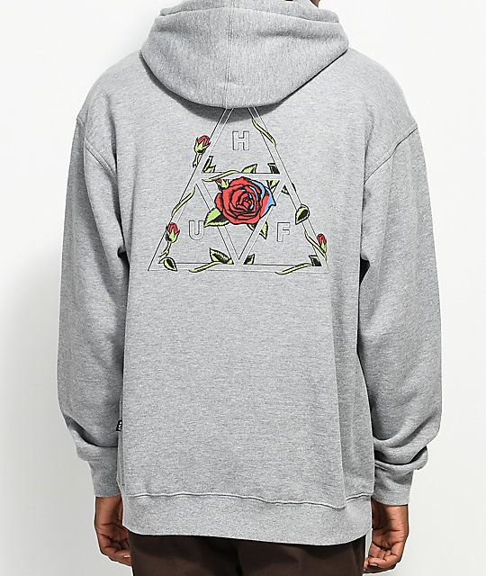 0415d90e01f HUF Roses Triple Triangle Grey Hoodie in 2019 | T-Shirts & Merch ...