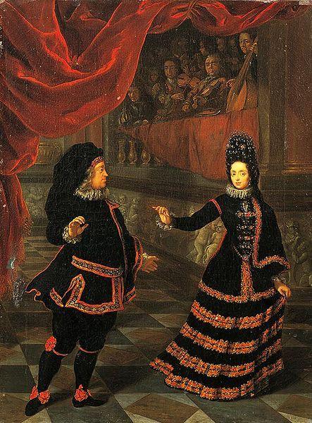 Het keurvorstenpaar in Spaans kostuum bij de dans (1695). The prince-elector and wife in Spanish costume at dance (1695).