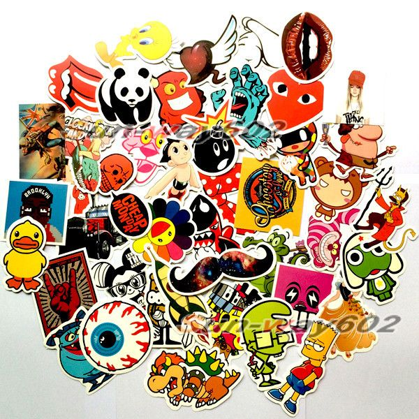 100 Pcs Lot Skateboard Stickers Waterproof Vintage Vinyl Laptop