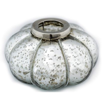 Halloween isn't just for kids. We are glamming our celebrations up with this mercury glass pumpkin tealight holder. Love the beading detail that compliment the overall design. Happy Halloween!