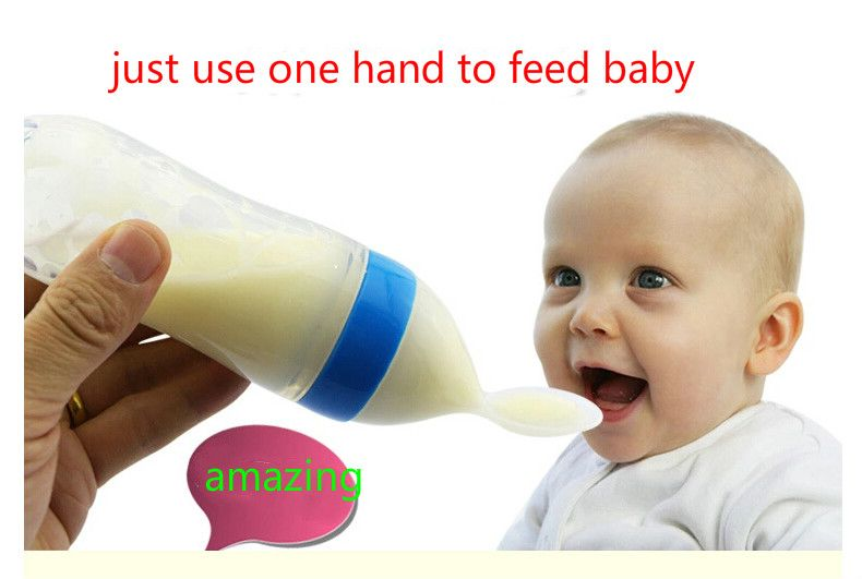 the baby  training rice paste bottle silicone spoon squeeze bottle fed baby food supplement feeding spoon