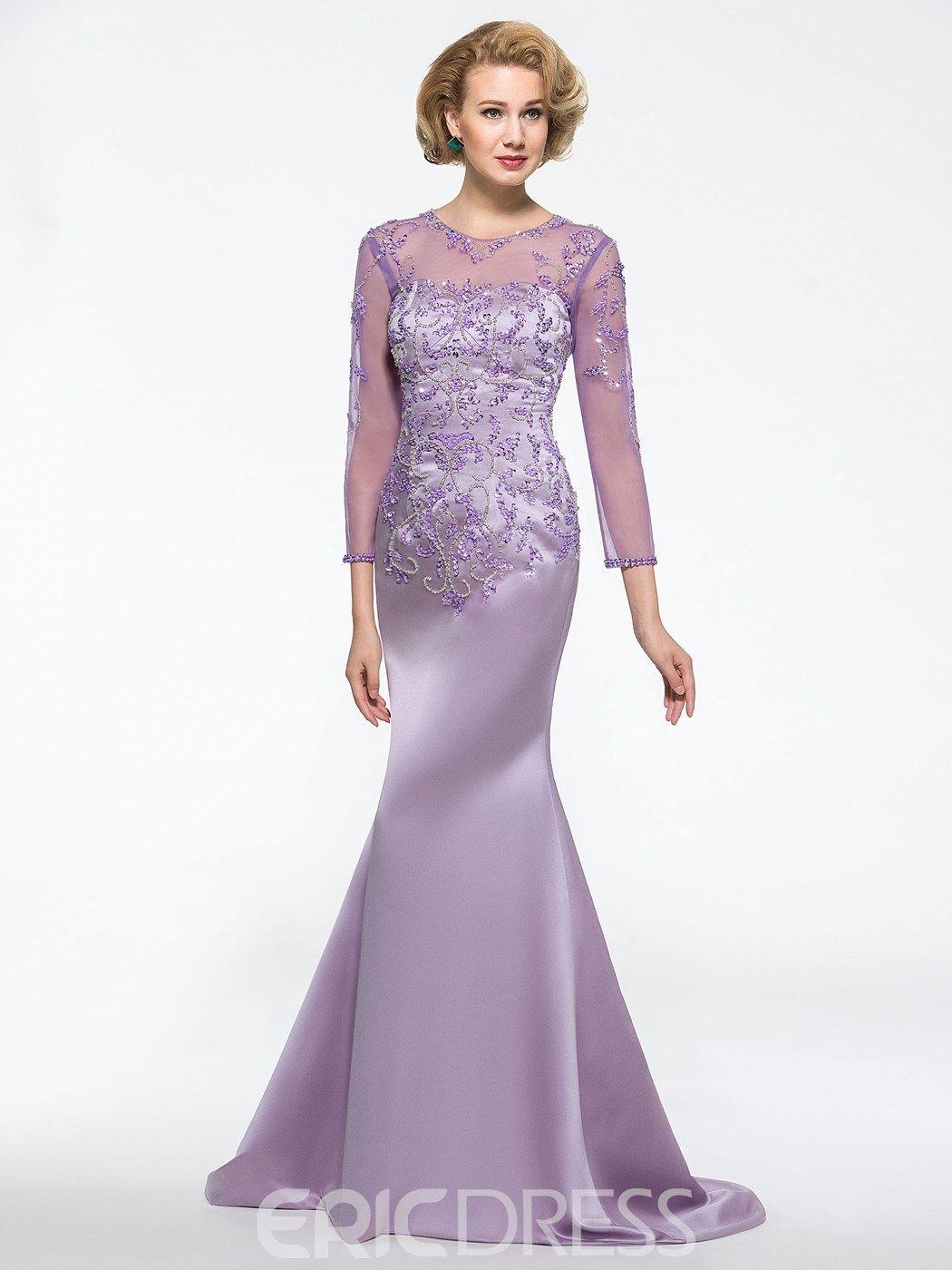 Modest Jewel 34 Length Sleeves Beadings Mermaid Mother of
