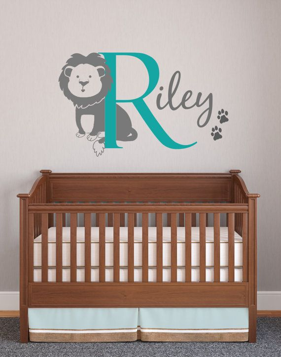 Lion Wall Decal With Initial Name And Paw Prints By Wallaffection 30 00