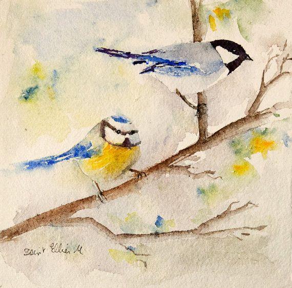 Original Watercolor Of 2 Chickadees On A Branch Original