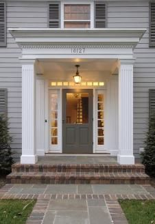 Flat Roof Portico Facade House Front Porch Design Colonial