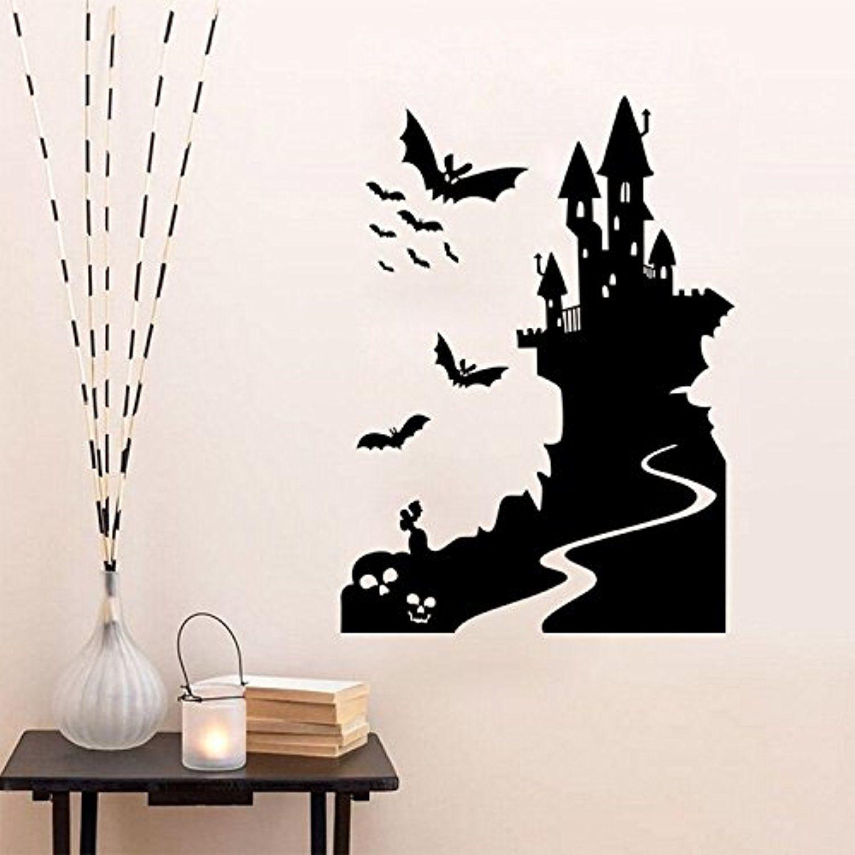 lovetmhappy halloween bat castle wall sticker window home decoration decal decor - Halloween Window Decals