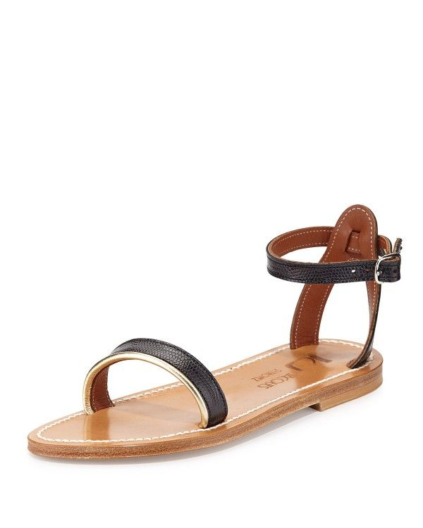 Womens Flats K Jacques Laura Snake Embossed Flat Sandals Noir Flats KEO NOIRNET LAME On Sale Store