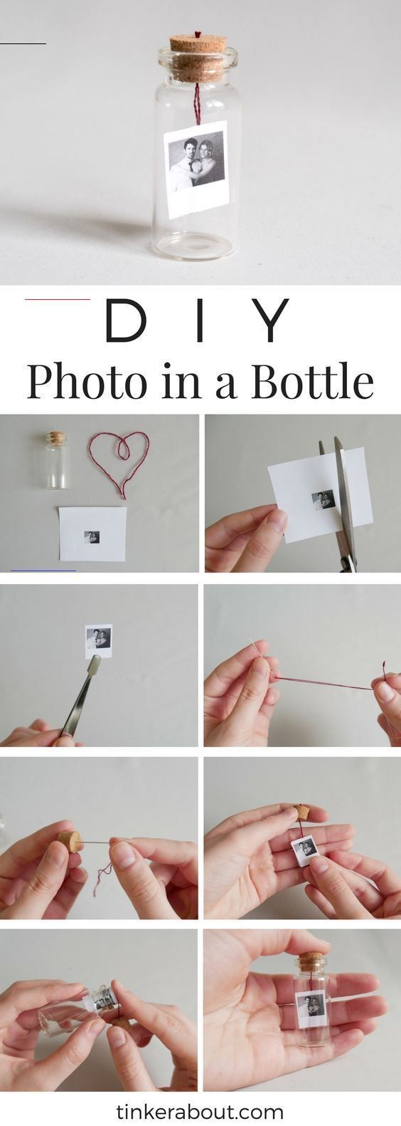 DIY Tiny Photo/Message in a Bottle as an Anniversary Gift Idea DIY Tiny Photo/Message in a Bottle as Valentine's Day Gift Idea<br> This Tiny Photo in a Bottle DIY is the perfect Valentine's Day gift idea for your significant other, your best friend or your family. It's super easy, cheap and takes only a couple of minutes. Find out more on my blog!