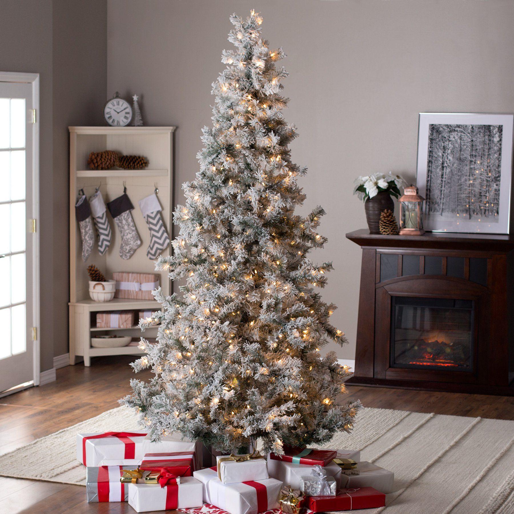 hot sale online ae939 b66da 7.5ft Pre-Lit Lightly Flocked Whiteland Pine w/Laser Glitter ...
