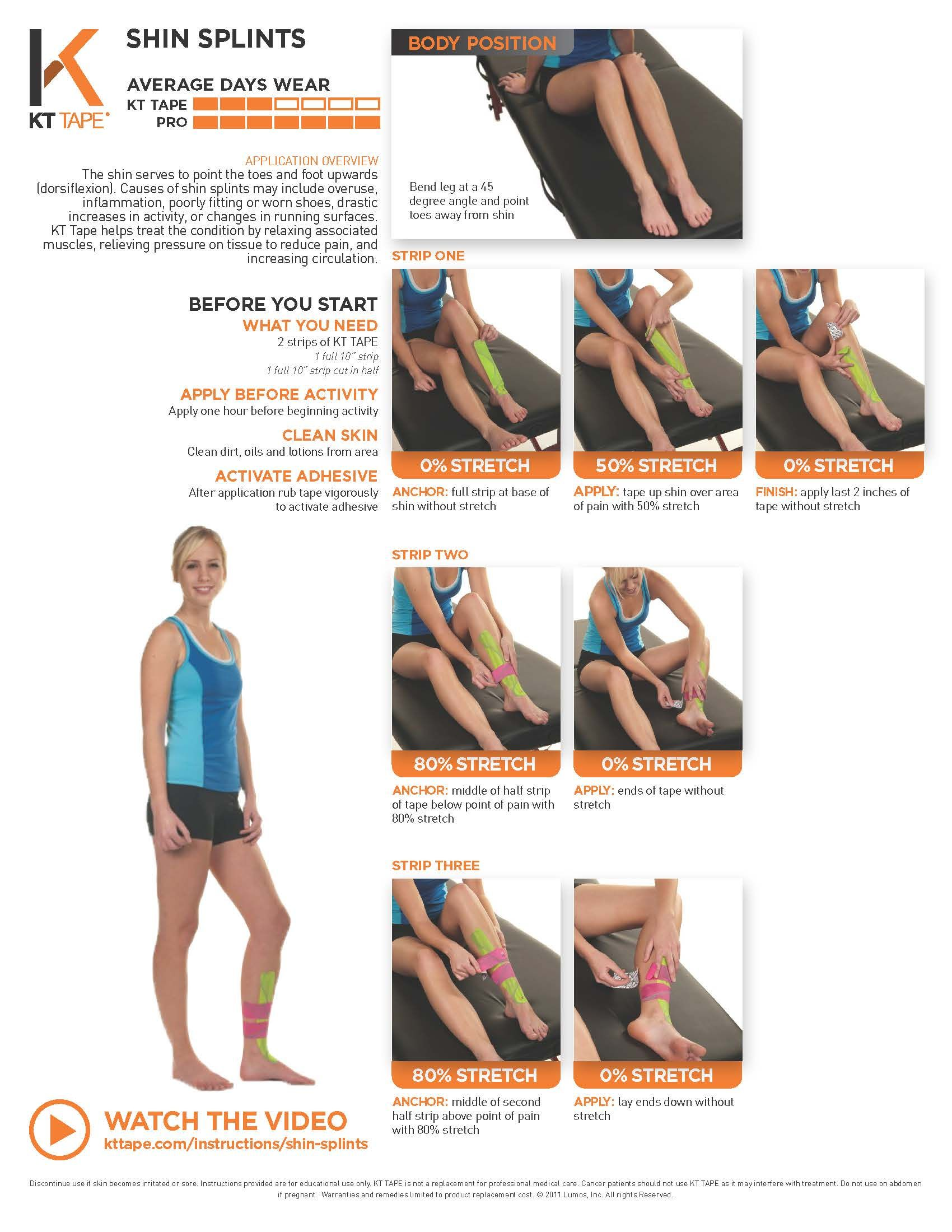 Shin Splints Taping KT Tape helps treat the condition by relaxing