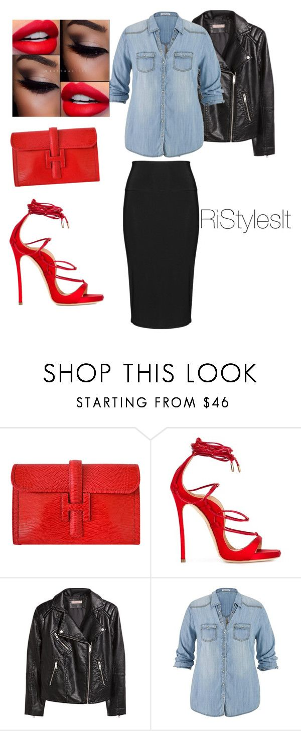 """""""The PLUS side of Things #Simple #Chic"""" by styledbyriah ❤ liked on Polyvore featuring Hermès, Dsquared2, H&M, maurices and Yoek"""