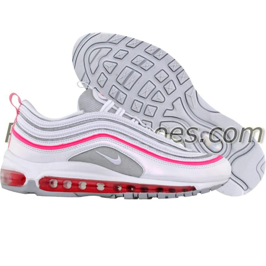 nike womens air max 97 metallic silver white pink. Black Bedroom Furniture Sets. Home Design Ideas