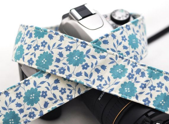 Periwinkle and Cream Floral - SLR Camera Strap - dSLR Camera Strap, Digital Camera Strap, camera strap on Etsy, $28.42 AUD